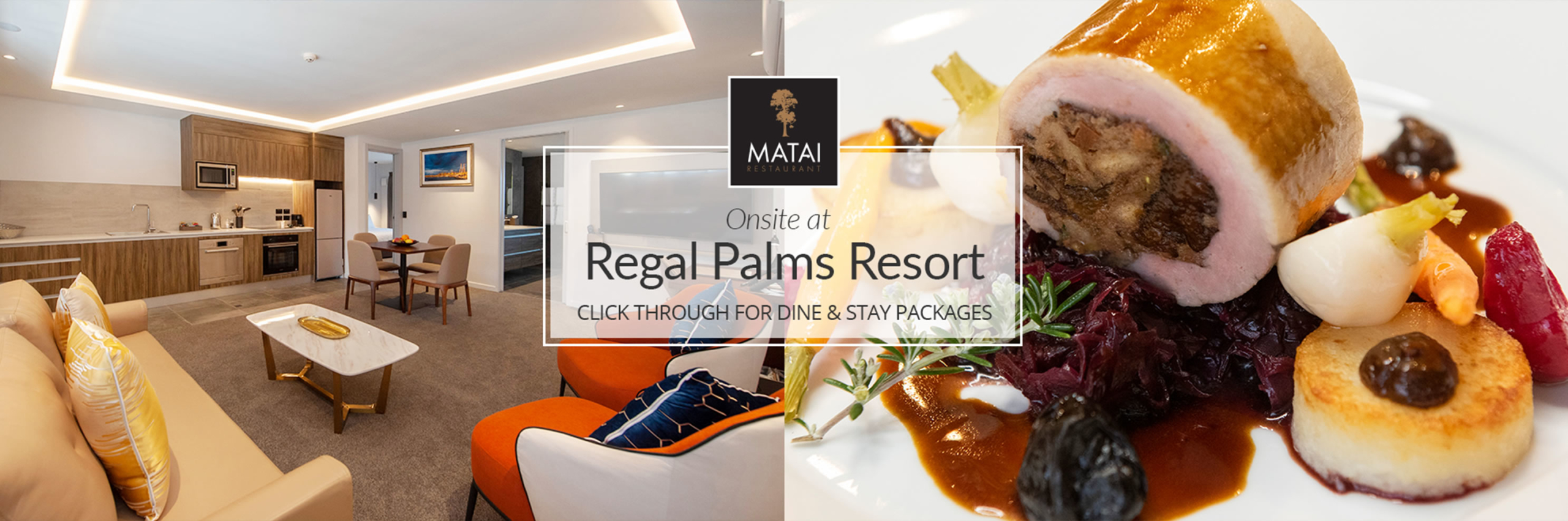 Click through for dine and stay packages at Regal Palms Resort Rotorua